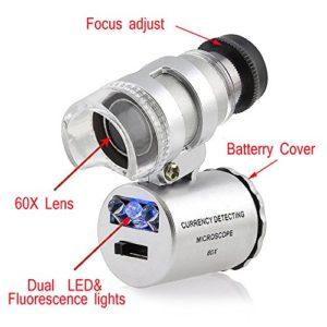 COLEMETER Mini Jeweler Loupe LED Light 60X Magnifier Microscope - 2