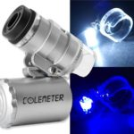 COLEMETER Mini Jeweler Loupe LED Light 60X Magnifier Microscope - 1