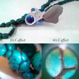 30x 60x Fach LED Leselupe Juwelier Uhr Vergrößerungsglas Faltbar Taschenlupe Magnifier - 5