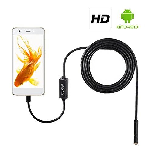 Shekar 2,0 Megapixeln 5m HD Android Endoskop 2-in-1 USB/Micro USB Endoskop Inspektionskamera Wasserdicht Boreskop für Smartphone Tablet mit OTG und UVC Function und PC/Laptop